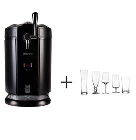 Chopeira Eletrica Maxicooler Benmax 5 Litros Preta - BMMCB + Jogo de Tacas Beer Tasting com 05 Pecas - Schott Zwisel