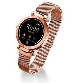 Smartwatch Dubai Atrio Dourado com 1,08, Pulseira em Aço, Bluetooth e 512 KB