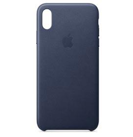 Capa Protetora para iPhone XS Max em Couro Azul Meia-Noite - Apple - MRWU2ZM
