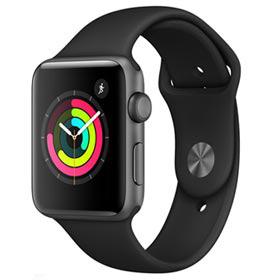 Apple Watch Series 3 Sport Cinza Espacial com Pulseira Esportiva Preta, 42 mm, Bluetooth e 8 GB