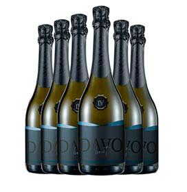 Kit com 06 unidades de Vinho Espumante Davo Leve e Complexo Brut 60% Chardonnay e 40% Pinot Noir com 750 ml