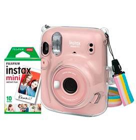 Kit Câmera Instantânea Instax Mini 11 Fujifilm Rosal com Pack com 10 filmes e Bolsa Crystal - 705066134
