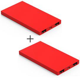 2 Carregadores Portateis Universal 6200 mAh Essential Vermelho - Geonav - PB6200R