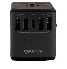 Carregador Universal com Adaptadores de Viagem USB + USB-C Preto - Geonav - TLCH65BK