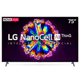 Smart TV LG 75 4K IPS NanoCell 75NANO90 WiFi Bluetooth HDR Inteligência Artificial ThinQAI Google Alexa