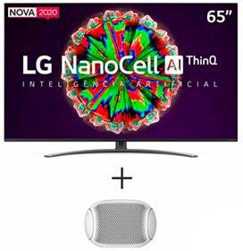 Smart TV NanoCell 4K LG 65 com Controle Smart Magic - 65NANO81SNA + Caixa de Som XBOOM Go LG Branca - PL2W