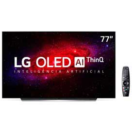 Smart TV LG 77 4K OLED77CX HDR WiFi Bluetooth Inteligência Artificial ThinQAI Smart Magic Google Alexa