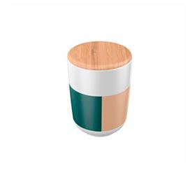 Porta Algodão em Cerâmica/Bambu Listras - YOI