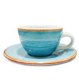 Xícara com Pires Corona Artisan em Porcelana 290 ml Azul - Yoi