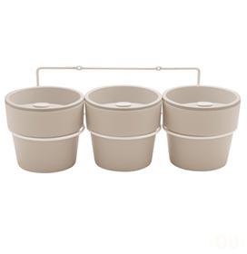 Kit com 3 Vasos Autoirrigáveis e Suporte Plantar Bege - Ou