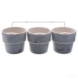 Kit com 3 Vasos Autoirrigáveis e Suporte Plantar Concreto - Ou