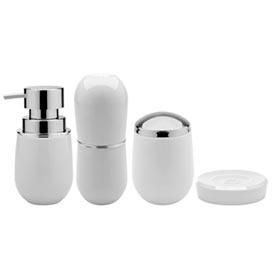 Conjunto de Banheiro Belly em Poliestireno Branco com 04 Peças - Ou