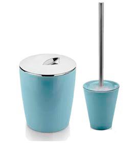 Conjunto de Banheiro Belly em Poliestireno Azul Glacial com 02 Peças - Ou