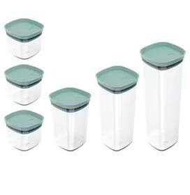 Conjunto de Potes Block em Poliestireno Verde Menta com 06 Peças - OU