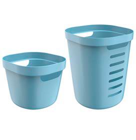 Conjunto Cesto para Roupas Cube Flex com 02 Peças Azul Glacial - OU