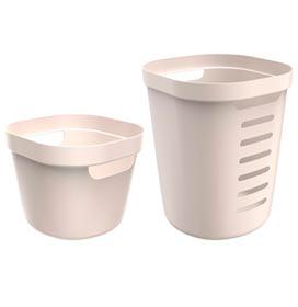 Conjunto Cesto para Roupas Cube Flex com 02 Peças Bege - OU