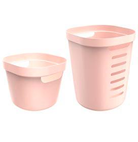 Conjunto Cesto para Roupas Cube Flex com 02 Peças Rosa Nude - OU