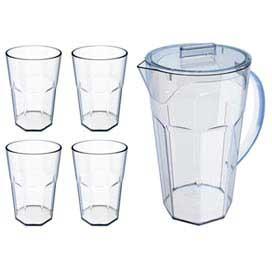 Conjunto de Jarra e Copos Drink em Poliestireno com 05 Peças Natural - Ou