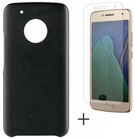 Capa para Moto G5 Plus Preta - MO-MMBKC0008I + Pelicula Protetora para Moto G5 Plus em Vidro - MO-MMTPG0014I - Motorola
