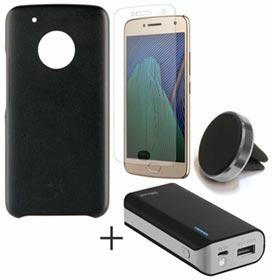 Capa Protetora Preta + Pelicula em Vidro para Moto G5 Plus + Carregador Portatil 4400 mAH + Suporte Veicular