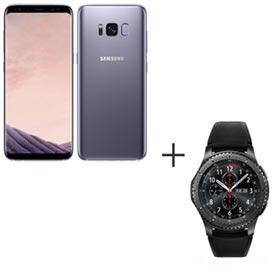 Samsung Galaxy S8 Ametista, Tela de 5,8, 4G, 64GB, 12MP SM-G950 + Gear S3 Frontier Preto com 1,3, Pulseira de Silicone