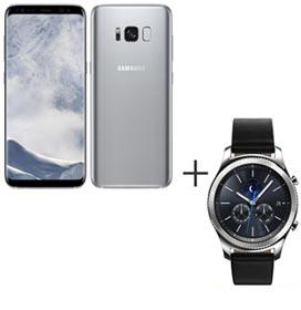 Samsung Galaxy S8 Prata, Tela de 5,8, 4G, 64GB e 12MP - SM-G950 + Gear S3 Classic Preto com 1,3, Pulseira de Couro