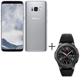 Samsung Galaxy S8 Prata, Tela de 5,8, 4G, 64GB e 12MP - SM-G950 + Gear S3 Frontier Preto com 1,3, Pulseira de Silicone