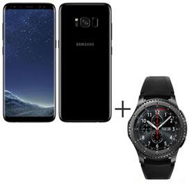 Samsung Galaxy S8 Preto, Tela de 5,8, 4G, 64GB e 12MP - SM-G950 + Gear S3 Frontier Preto com 1,3, Pulseira de Silicone