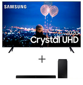 Samsung Smart TV Crystal UHD TU8000 4K 75, Alexa - UN75TU8000GXZD + Soundbar Samsung com 2.1 Canais e 320W - HW-T555/ZD