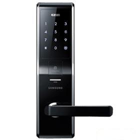 Fechadura Digital e Biométrica Samsung Preta e Prata - SHS-H705