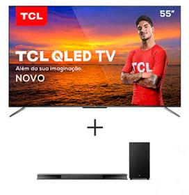 Smart TV TCL QLED Ultra HD 4K 55 Android TV e Wi-Fi - QL55C715 + Soundbar Ray Danz TCL com 3.1 Canais, 540W - TS9030