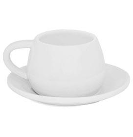Xícara com Pires Tropeiro Mondoceram Gourmet em Cerâmica 150ml Branca J443001