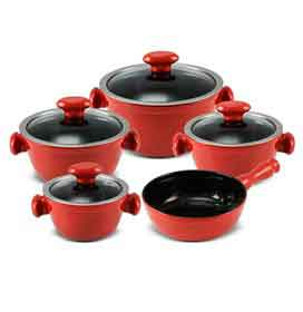 Conjunto de Panelas Chef em Cerâmica com 05 Peças Pomodoro - Ceraflame
