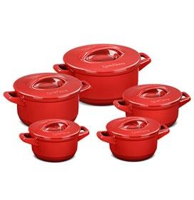 Conjunto de Panelas Duo+ em Cerâmica Vermelha com 05 Peças - Ceraflame